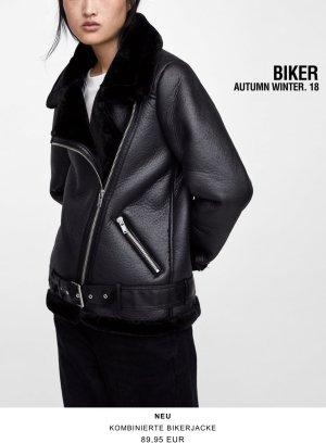 Zara Shearling Bikermantel Winter XS