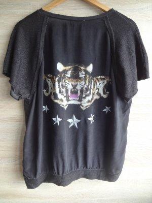 Zara Shirt aus echter Seide!! schwarzgrau stars animal M blogger