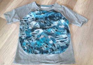 Zara Shirt Bluse Blusenshirt Applikation Sweatstoff M