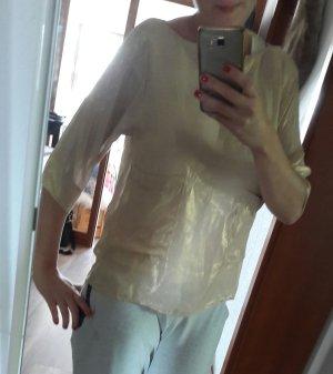 Zara Shirt Blusenshirt Glanz Metallic Gold Taschen