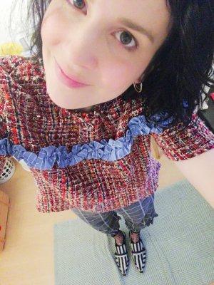 Zara Shirt Bouclé Karo Rüschen Volants