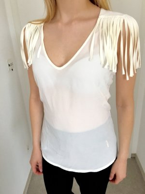 Zara Shirt, Creme, Fransen, Cowboy, S