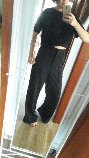 Zara Shirt Crop Cropped Cropshirt Knoten Schwarz bauchfrei L