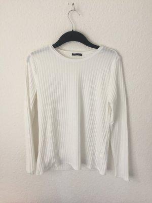 Zara Shirt gerippt Naturweiss