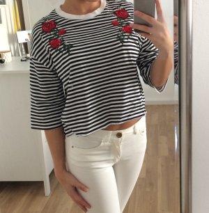 Zara Shirt Hemd Bluse Top Croptop schwarz weiß streifen Rot Stickereien XS 34