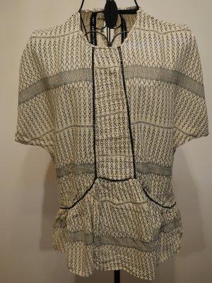 Zara Camisa de un solo hombro negro-crema Algodón