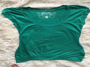 Zara Shirt in Grün mit Rundhalsausschnitt