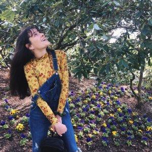 ZARA Shirt Langarm Gr 36 S gelb Blumen Vintage