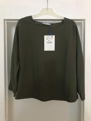 Zara Shirt Langarm Sweatshirt khaki S