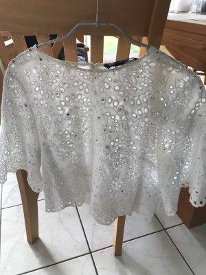 Zara Shirt Lochstickerei / Spitze weiß Gr.34