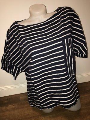 Zara Basic Gestreept shirt wit-donkerblauw