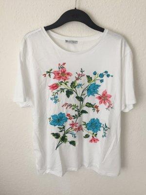 Zara Shirt mit Blumenstickerei
