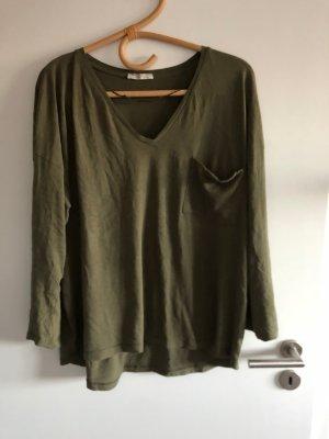 Zara V-Neck Shirt green grey-olive green