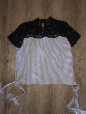 Zara Shirt Oberteil Blusenshirt Spitzenshirt Spitze gestreift Gr. M