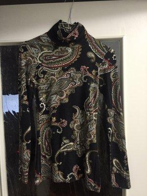 Zara Shirt Rollkragenshirt Paisley langarm Shirt Gr. S Knöpfe