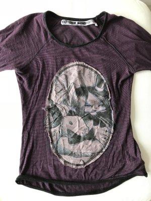 Zara Shirt, schwarz-lila, S
