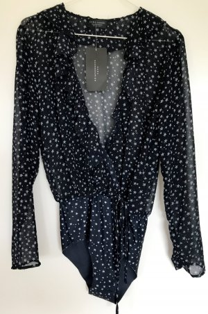 Zara Shirt Style Bodysuit with Stars and Frills - NEW mit Etikette - XS