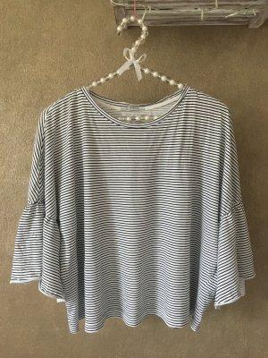 ZARA Shirt T-Shirt Fledermausärmel Rüschen gestreift schwarz weiß Gr. S