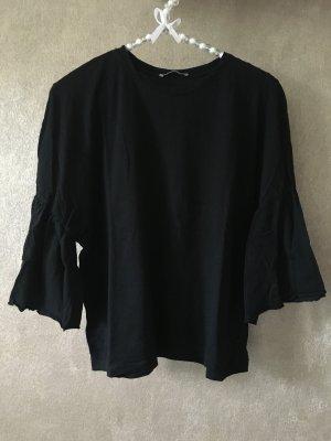 ZARA Shirt T-Shirt Fledermausärmel Rüschen schwarz Gr. S