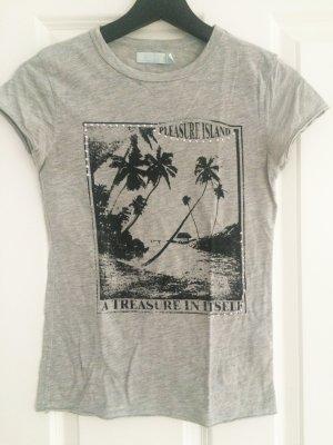 Zara, Shirt, T-Shirt, grau, S, 36, Strasssteine, schwarz, Palme
