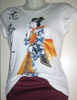Zara Shirt T Shirt Longshirt Kurzarm China Japan Geisha Print Frau Schrift weiß bunt 34 36 XS S
