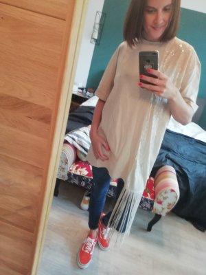 Zara Shirt T-Shirt Pailletten Oversize Longshirt