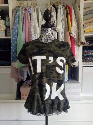 Zara Shirt Top Blogger Volants Camouflage Grün Print M 38