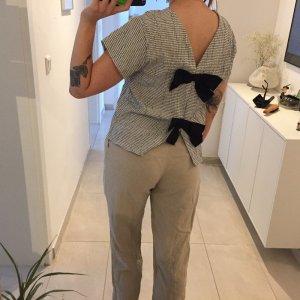 Zara Shirt Top Bluse mit Schleifen Oberteil weiß schwarz