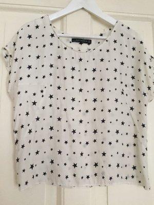 ZARA Shirt Top reine Seide weiß Sterne - S