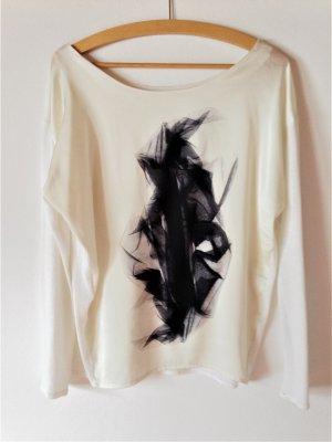 Zara Shirt weiß mit schwarzem Druck