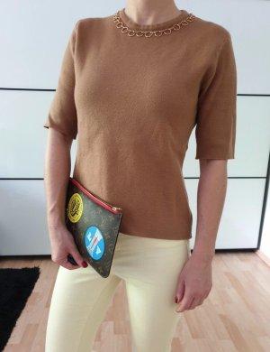 Zara Shirt XS S 34 36 beige camel Kette Bluse Top Hemd Longshirt Oberteil Tunika Neu