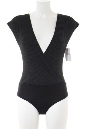 Zara Shirtbody schwarz Streifenmuster Elegant