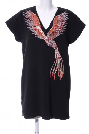 Zara Shirt Dress black-light orange themed print casual look