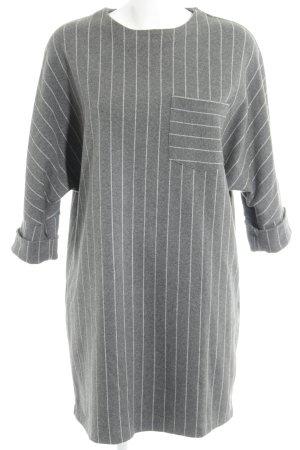 Zara Shirtkleid hellgrau-creme Streifenmuster Casual-Look
