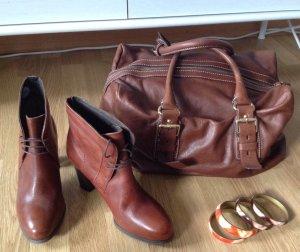 ZARA Shopper Bag / Schulter Tasche in Braun mit goldenen Reißverschlüssen