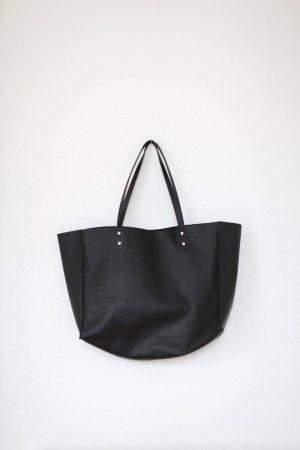 Zara Shopper Bag Tasche Schwarz Kunstleder Handtasche