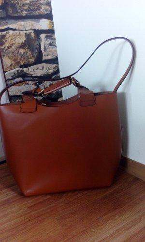 ZARA Shopper Tasche Olivia Palermo Braun Cognac