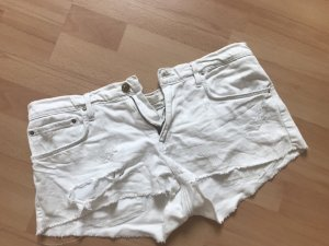 Zara Pantalón corto de tela vaquera blanco-blanco puro