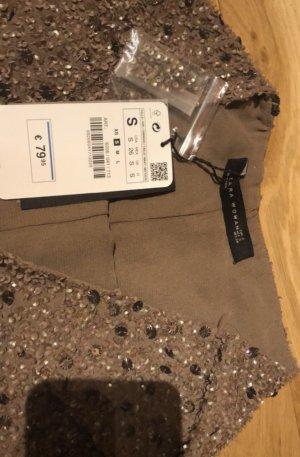 Zara Woman Pantalón corto de talle alto marrón claro-marrón