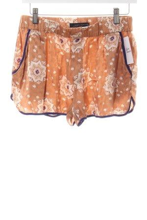 Zara Shorts apricot-lila Ornamentenmuster Schimmer-Optik