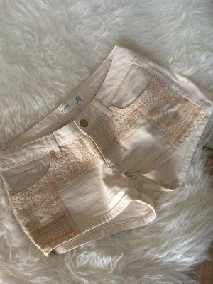 Zara Shorts beige 38 M neu bestickt Stickerei Sommer cremeweiß