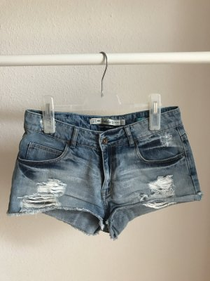 Zara Shorts blau Casual-Look Washed-Optik