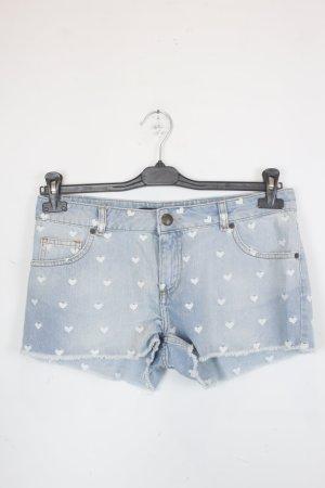 Zara Shorts Jeansshorts Gr. 40 hellblau mit weißem Herz-Print (18/5/008)