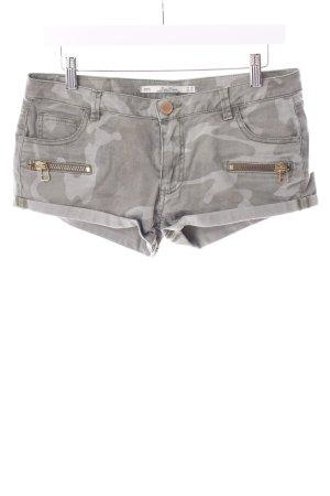 Zara Shorts khaki Camouflagemuster Zierreißverschluss