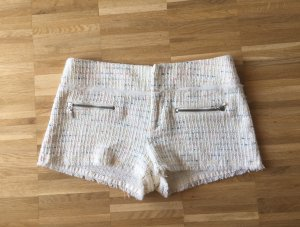 Zara Shorts S 36 Creme Boucle gewebt bunt
