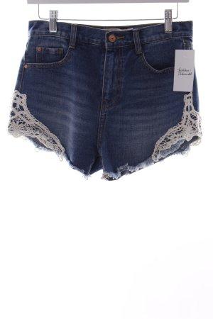 Zara Shorts stahlblau-weiß Häkel-Detail