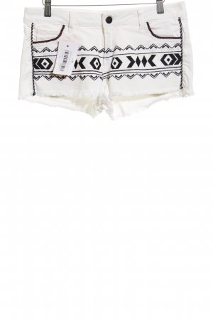 Zara Shorts weiß-schwarz Casual-Look
