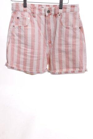 Zara Shorts wollweiß-hellrot Streifenmuster schlichter Stil