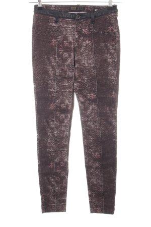 Zara Skinny Jeans braun-pink Animalmuster extravaganter Stil
