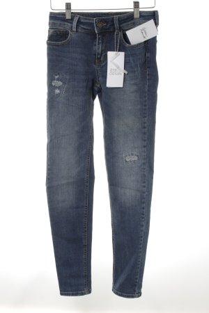 Zara Skinny Jeans blau Bleached-Optik